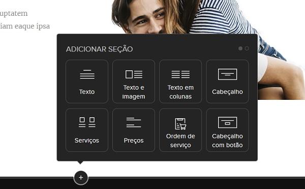 Webnode Adicione Seções do Website