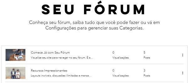 Wix forum - passo 3