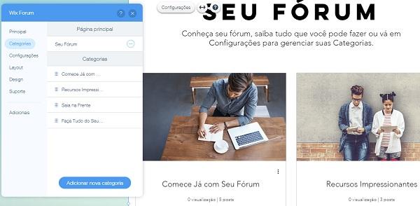 Wix forum - passo 5