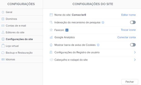 Webnode CONFIGURAÇÕES