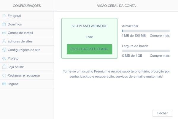 Webnode Account Overview