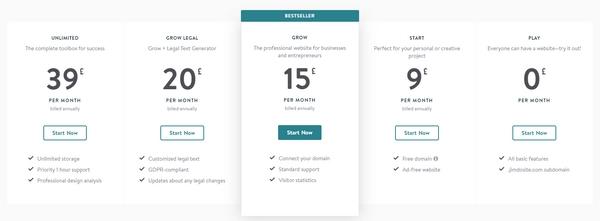 jimdo website pricing