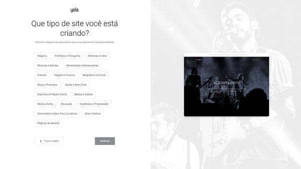 Yola choose type site